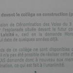 """Fac-Similé de la proposition d'une """"Esplanade de la Laïcité"""" à la Commission d'Attribution des noms de voies publiques de Arles"""