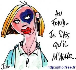 femme battue, dessin de Jiho