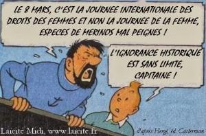 journée internationales des droits des femmes et non de la femme, d'après Hergé, le Capitaine et Tintin