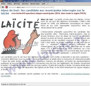 3 Questions Laïques 2014 Municipales,, Alpes1 20.3.14