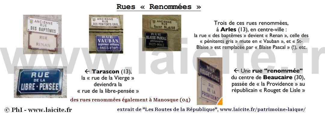 Rues renommées Routes de la République
