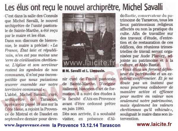 Tarascon (13) le maire et l'archiprêtre13.12.14 laProvence