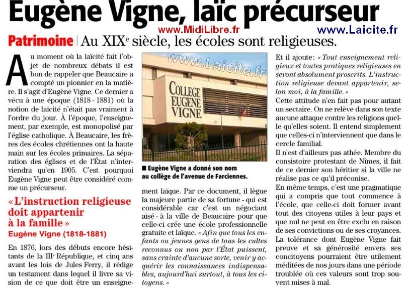 Beaucaire, Eugène Vigne, laïc précurseur MidiLibre.fr