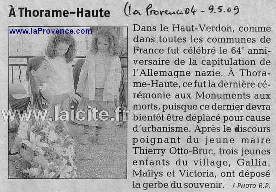 Cérémonie patriotique 8.5.09 Thorame-Haute (04) laProvence.com