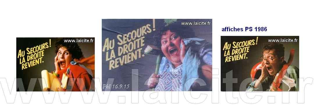 affiches Au Secours la Droite, PS 1986, PhI 9.15