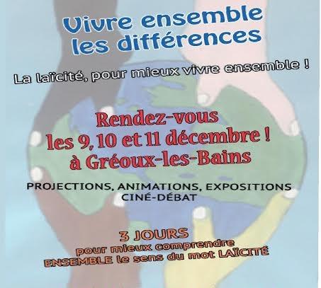 Laïcité Vivre Ensemble 9 déc. 2015 Gréoux (04) affiche