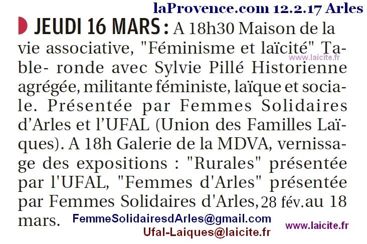 Expos Débat Femmes 8 mars 12.2.17 laProvence