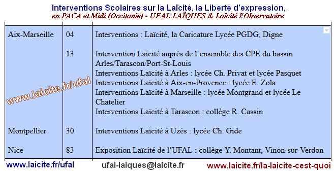 Interventions Scolaires Laïcité PACA-Midi, UFAL-Laïcité l'Observatoire