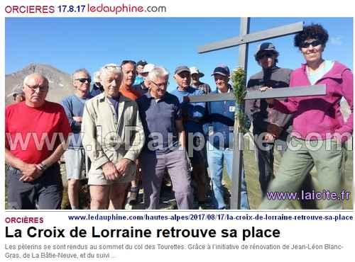 Croix Lorraine (05) Orcières 17.8.17 article DL