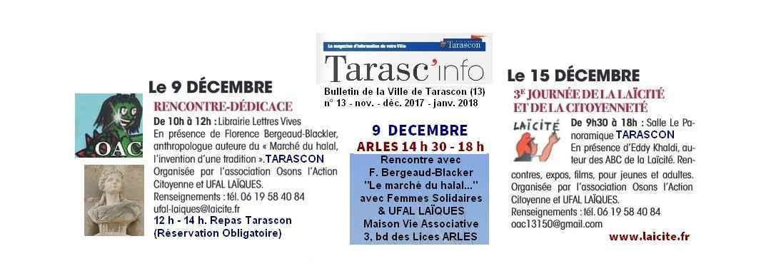 Laïcité Tarascon Arles 9 & 15 déc. 2017