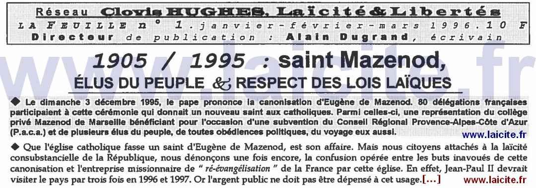 bando 1905-1995 Mazenod Réseau Laïque Cl. Hugues 1.96