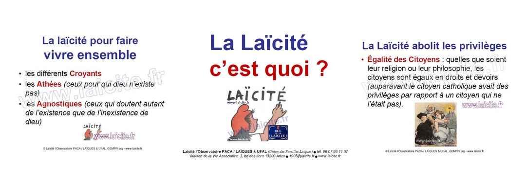 bando La Laïcité c'est quoi ? UFAL & Observatoire, diapo 01