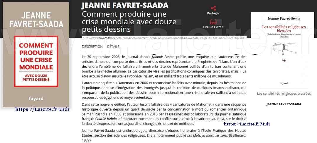 Caricatures Danoises & Sensibilités Religieuses, Jeanne Favret-Saada
