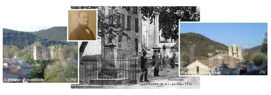 Allemagne-en-Provence (04), château, buste de Pierre Allemand fondu lors d'une guerre, église © PhI