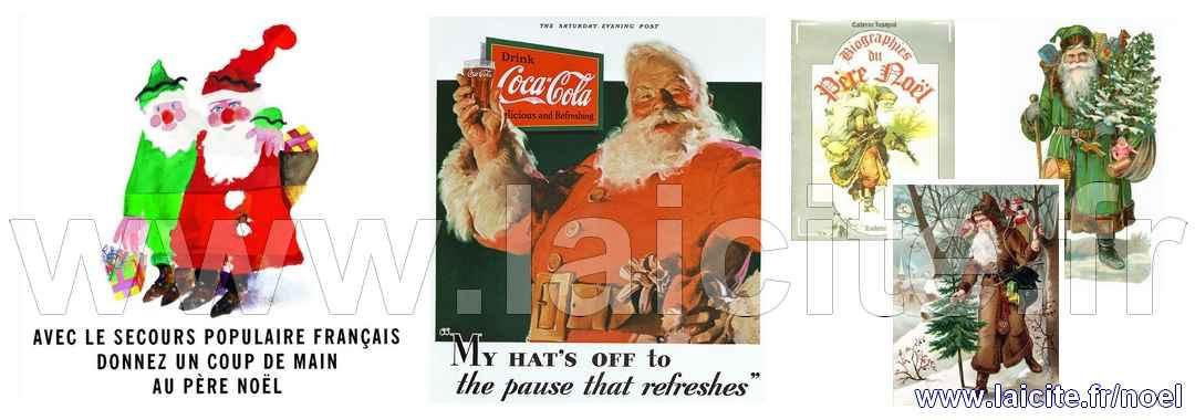 Pères Noël 3 couleurs https://Laicite.fr/noel