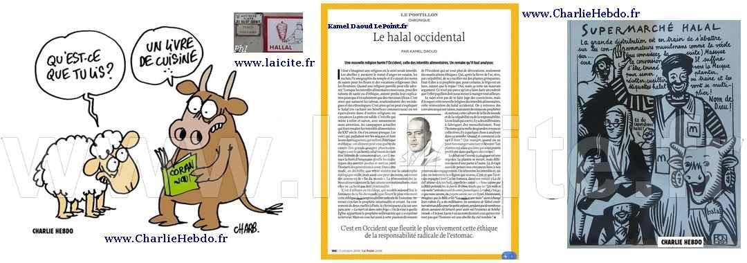 Halal, K. Daoud, Charb, Honoré © CharlieHebdo.fr & Laicite.fr