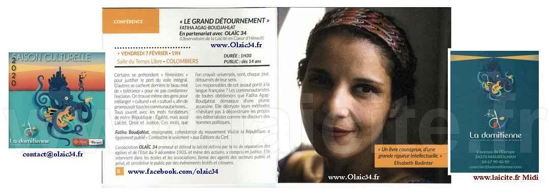 Fatiha Agag-Boudjahlat (34) Colombiers © Olaic34.fr - Laicite.fr