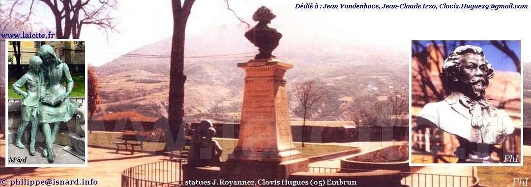 Clovis Hugues, jardin Embrun (05) statues J. Royannez, Laicite.fr © PhI & M@d