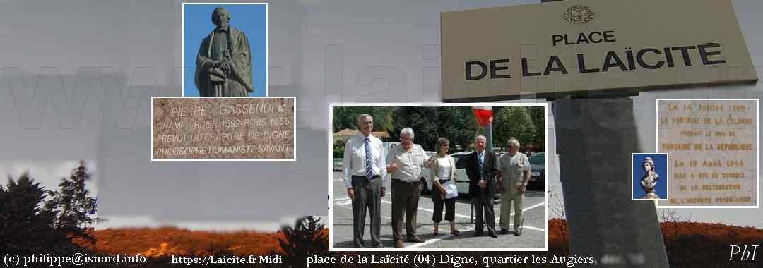 Digne (04) Place de la Laïcité, Fontaine de la République et Gassendi © PhI