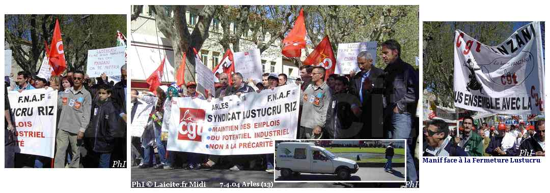 Fermeture de Lustucru, Manif 7.4.04 Arles (13) PhI © Laicite.fr Midi