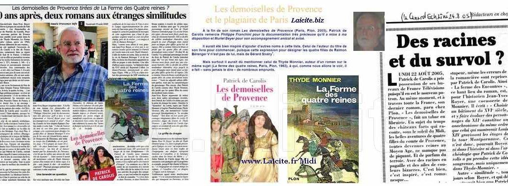 Romans, Similitude ou Plagiat ? P. de Carolis / Th. Monnier 8.05 © Laicite.fr