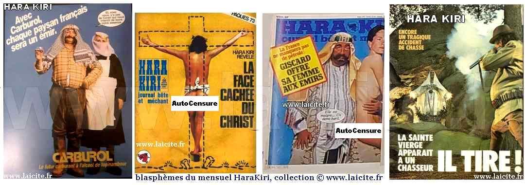 blasphèmes, mensuel HaraKiri (AutoCensure publication réseaux sociaux) coll. © www.laicite.fr