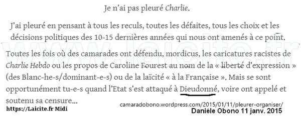 Danièle Obono 11 janv. 2015 pleure pas Charlie Hebdo, pleure Dieudonné