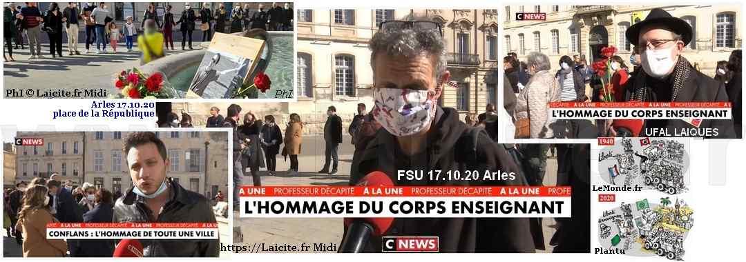 Rassemblement Hommage à S. Paty Arles 17.10.20 © PhI