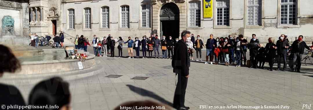 Arles 17.10.20 FSU Hommage à Samuel Paty Laicite.fr © PhI