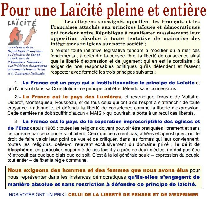 Pétition pour une Laïcité Pleine & Entière 4.06 © LAIQUES