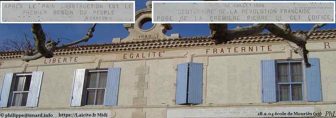 1889 Ecole de Mouriès (13) inscriptions républicaines, Laicite.fr © PhI