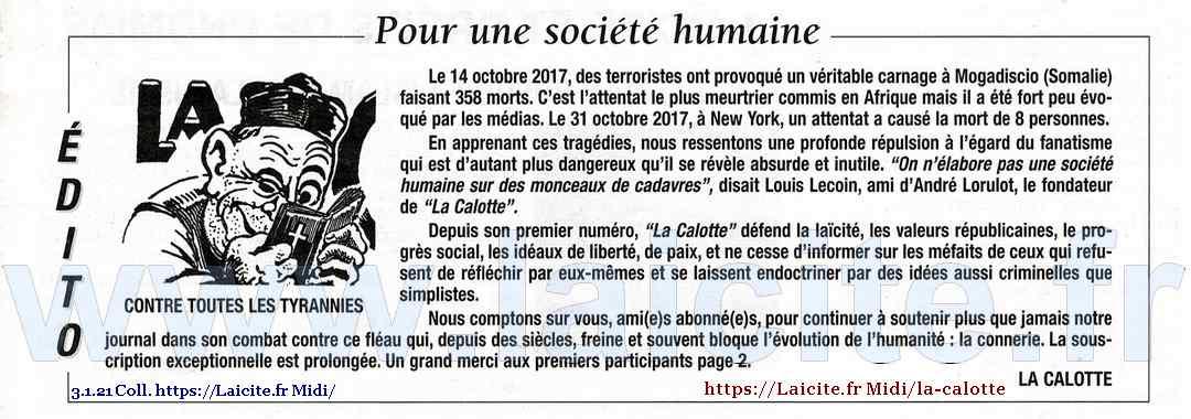 """""""Pour une société humaine"""" La Calotte n° 539, 4e trim. '17 © Laicite.fr"""