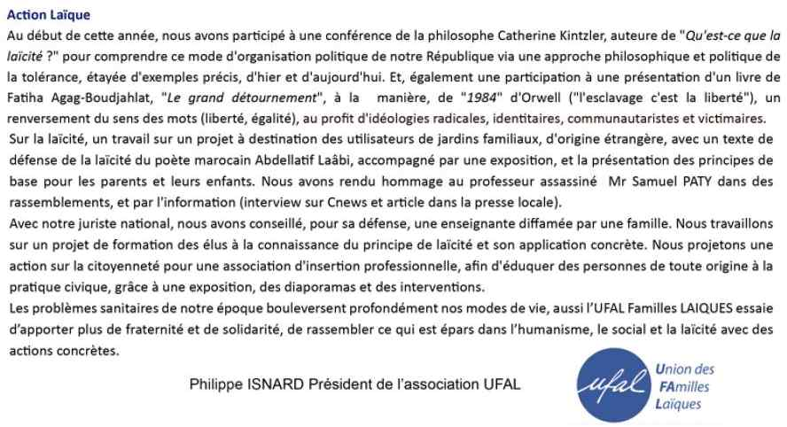 UFAL PACA-Ouest Action Laïque 2019-2021, UDAF 13, mars '21