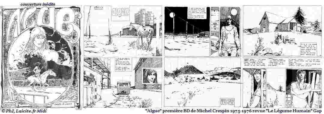 """Algue"" BD, Michel Crespin 1975-76 éd. Le Légume Humain © PhI"